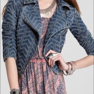 FREE PEOPLE textured Denim Moto jacket Sz 12 EUC